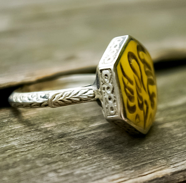 Afghan ring with yellow stone the Koran