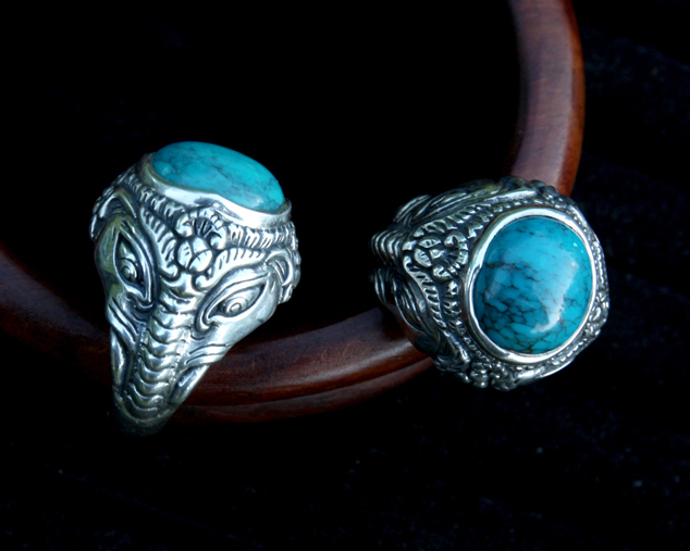 перстень с Ганешем, кольцо с бирюзой, этнические украшения, слон