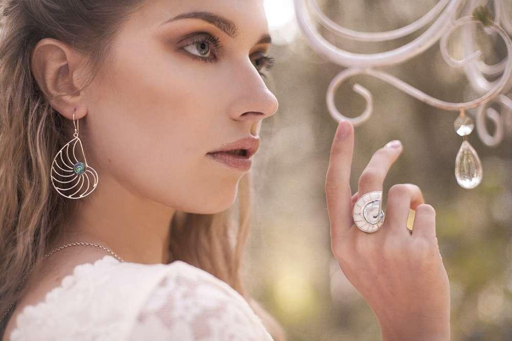 серьги наутилус серебро ракушка этника бохо  кольцо с ракушкой