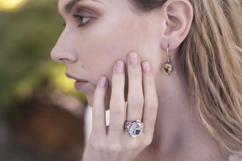 кольцо с секретом серебро аметист