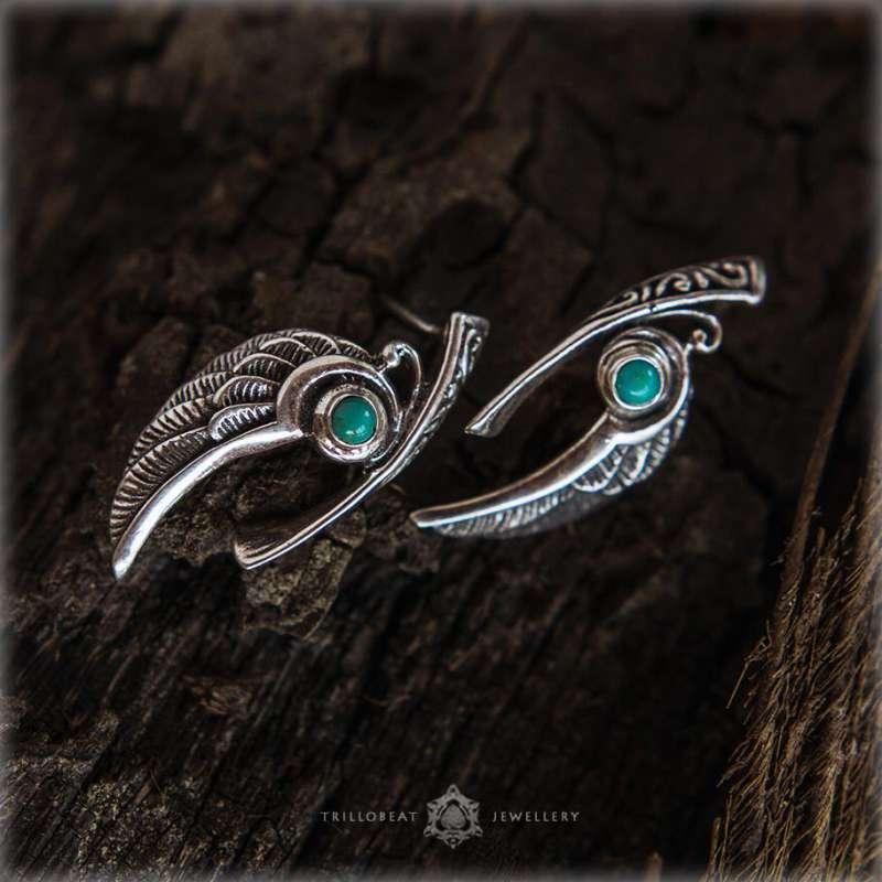 серебряные серьги с бирюзой колибри